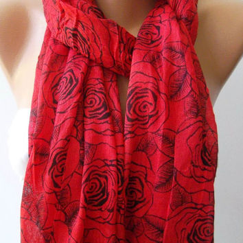 Shawl for Summer /Red - Black Roses / Shawl / Elegance Shawl / Scarf / soft and light-