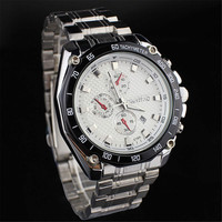 Mens Business Sports Steel Strap Wrist Watch Motorcycle Style Watched Best Gift