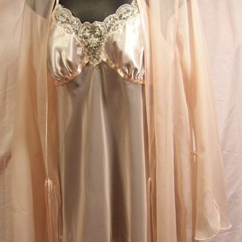 Peignoir Set, Peach, Short Sexy, Satin Chiffon, Size S Small, Bridal Honeymoon, Resort Cruise, No Size Label * See Measurements
