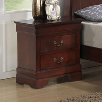 2 Drawer Nightstand Wood Bedroom Night Stand Cherry Finish End Table Furniture