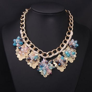 Luxury Crystal Flower Necklace Jewelry Crystal Statement Necklace Gold Chunky Chain Necklace Bubble Bib Necklace Jewelry Women Prom Jewelry