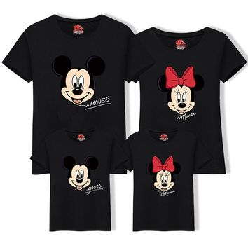 Matching Family Outfits Best Friend Tshirt Cartoon Mickey Printed Casual T Shirt Family Look Mother Son Dad Daughter Clothes