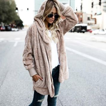 LASPERAL Fashion Open Stitch Hooded Coat New Year Spring Faux Fur Teddy Bear Coat Jacket Women Female Long Sleeve Fuzzy Jacket