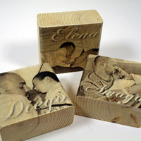 Small Personalized Photo Block: New Baby and Daddy Photo Wood Block, Family, Kids, Photo Gift, Custom, Home Decor, Fathers Day,