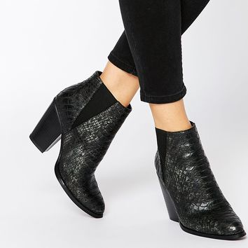New Look Snake Effect Heeled Ankle Boots