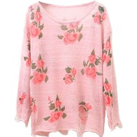Ripped Knit Pullovers with Floral Print
