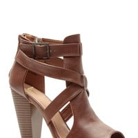 Chestnut Faux Leather Cross Strap Chunky Booties