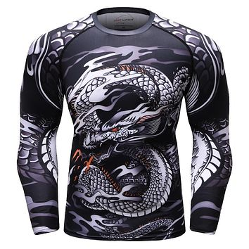 BJJ MMA Fight Compression Shirt Raglan Long Sleeve 3D Print Men's T shirts Fitness Male Bodybuilding Cross fit Tops Sportswear