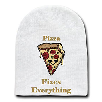 'Pizza Fixes Everything' Food Humor Cartoon - White Beanie Skull Cap Hat
