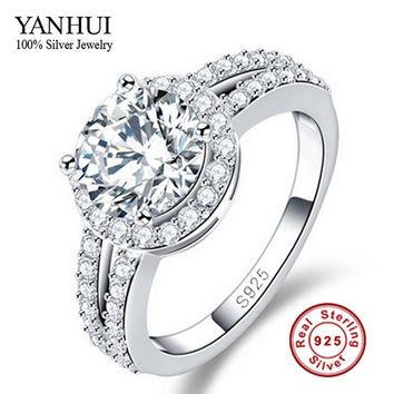 Promotion Luxury 100% Pure 925 Sterling Silver Ring Inlay Hearts and Arrows 2 Carat CZ Diamond Wedding Rings For Women JZR017