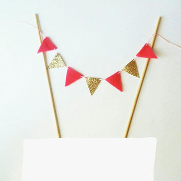 Fabric Cake Bunting - Felt Bunting Fabric Garland - Pink Cake Gold Party Decor - Cake Topper Gold Glitter Bunting -Gold Hot Pink Cake Banner
