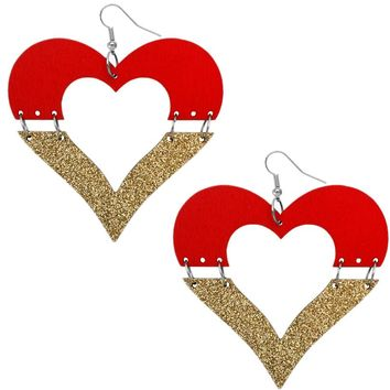 Red Wooden Linked Heart Glitter Earrings