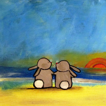 Bunny Rabbit Nursery Art, Cute Animal Kids Wall Art, Original Acrylic Artwork for Kids, Rabbits on the Beach, Whimsical Storybook Decor