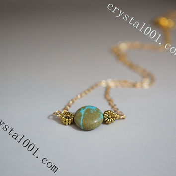 Tiny Turquoise Necklace Turquoise Jewelry Tiny Gold Necklace USA