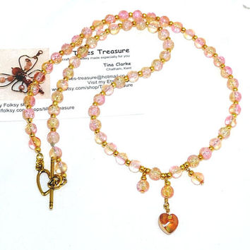 Beaded Necklace, Pink and Gold Crackled Glass Beads with Gold Spacer Beads and Heart Drop Pendant, Plus Size, Handmade, Ooak, Made in UK