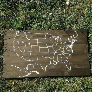 "American Wooden Map, Wooden Map Décor, Hand Painted American Map, American Sign, USA Sign, Rustic Home Décor, 35"" X 19"" Map Wall Décor"