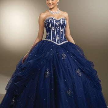 Vestidos Debutante Dark Royal Blue Beaidng Sweet 16 Dresses Quinceanera Dresses Ball Gown For Birthday Paty Vestido Para 15 Anos