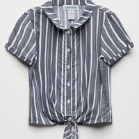 MIMI CHICA Stripe Tie Front Girls Top