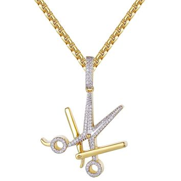 14k Gold Finish Barber Scissors Razor Blade Iced Out Pendant