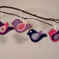 Set of 4 Felt Bird Ornaments - Handstitched Pink, Purple & Blue - Whimsical Christmas Holiday Nature Tree Decor