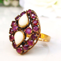 Vintage Opal & Spinel Cluster Ring 14K Gold Marquise Shaped Princess Ring Vintage Harem Wedding Ring Unique Engagement Ring!