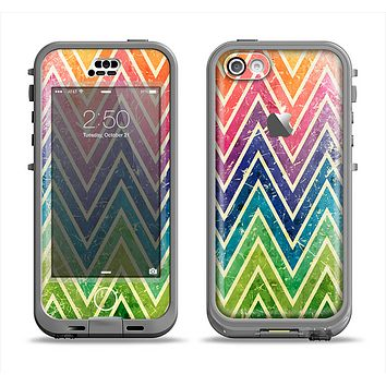 The Grunge Vibrant Green and Neon Chevron Pattern Apple iPhone 5c LifeProof Nuud Case Skin Set