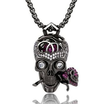 """Romance Forever"" Skull & Rose Charm Pendant Necklace with Crystal Brain Hidden Inside"