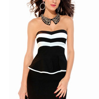 Black Stripe Print Strapless Peplum Mini Dress