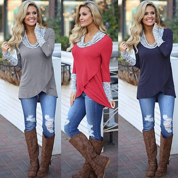 AVODOVAMA M Fashion Sexy Casual Long Sleeve Shirts Casual Blouse Patchwork Striped Turtleneck Women Tops