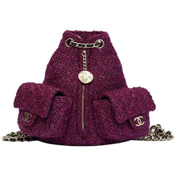 2012 Chanel Aubergine Quilted Tweed Fabric Mini Backpack