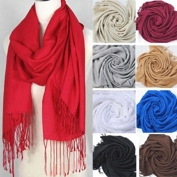 New Women Soft Scarves Warm Wool Blends  Long Large Wrap Tassels Scarf Shawl = 1958034372