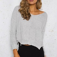 Lace Up Knitted Pullover Sweater Women Long Sleeve Jumper Pullover Casual Pull