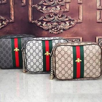 Gucci Bee bag Leather Shoulder Bag Crossbody Satchel bag Square bag