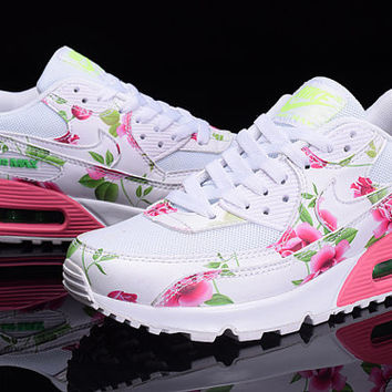 timeless design 52d3f eecd5 Nike Air Max 90 White Pink Green Flowers Custom Runing Shoes