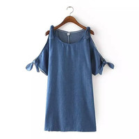 Denim Blue Tie Cutout-Shoulder Dress
