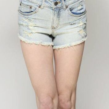 Rolling Stone Mid Rise Denim Shorts