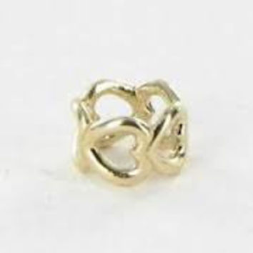 Pandora Charms Authentic 14K Yellow Gold Open Heart Spacer Charm Bead