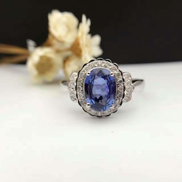 18K Gold 1.259ct Natural Sapphire Women Ring with 0.142ct Diamond Setting 2016 New Fine Jewelry Wedding Band Engagement