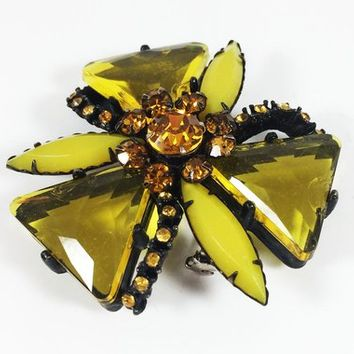Black Japanned Floral Brooch Orange Rhinestones & Yellow Lucite Navettes Triangles Mid Century Vintage Style Flower Pin Retro Prong Set