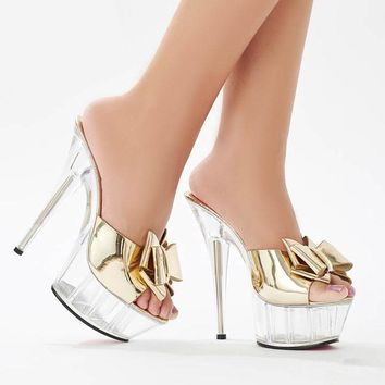 Crystal shoes new high heel sandals, bow thick bottom waterproof platform wedding shoes, the auto show runway Slippers