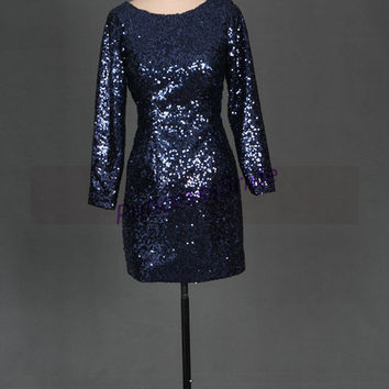 2014 short navy blue sequins prom dresses,unique long sleeves gowns for party,chic cheap bridesmaid dress under 100.