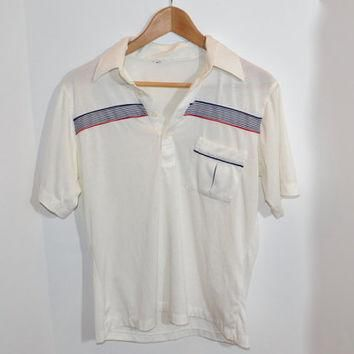 Vintage Men's Red, White and Blue Striped Collared Golf/Tennis Polo Shirt - 1980's