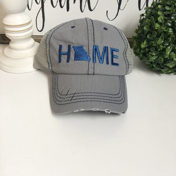 Missouri Home hat, Grey trucker hat | Missouri State Hat - Navy Hat