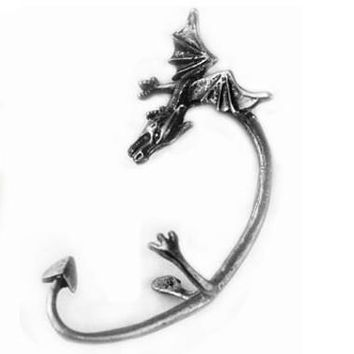 ES119 Fahion Vintage Gothic Godzilla Chrome ear cuff Earrings Jewelry