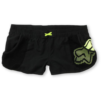 Fox Girls Vented Black & Neon Yellow Board Shorts