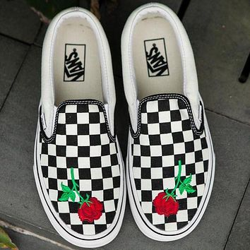 Vans Slip-On Canvas Rose Embroidery Checkerboard Sneakers Sport Shoes I/A