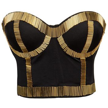 Atomic Black and Gold Bustier Top