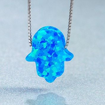 Agate Blue silver blue palm-shaped palm-shaped generation of opal pendant necklace
