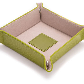 Leather Valet Tray, Green, Jewelry Holders & Displays