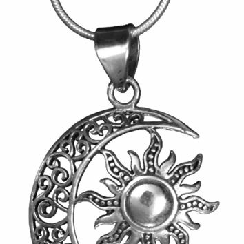 Sterling Silver Sun, Moon & Star Pendant